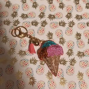 Accessories - Multicolored bling ice cream cone keychain